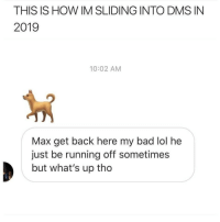 👀👀: THIS IS HOW IM SLIDING INTO DMS IN  2019  10:02 AM  Max get back here my bad lol he  just be running off sometimes  but what's up tho 👀👀