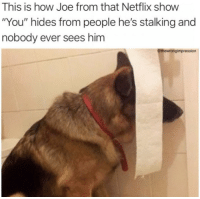 "Facts, Netflix, and Stalking: This is how Joe from that Netflix show  ""You"" hides from people he's stalking and  nobody ever sees him  @thewrongimpression Facts"
