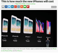 iphone: This is how much the new iPhones will cost  Posted 45 minutes ago by Megan Rose Dickey (@meganrosedickey)  几  F  Next Story  9:4  94  9:41  41  iPhone SE  iPhone 6s  From  $449  iPhone 8  iPhone 7  From  $549  iPhone X  From  From  349  699  At Apple's big event today at the Steve Jobs Theater, Apple unveiled three new iPhones, the iPhone  8, the iPhone 8 Plus and the iPhone X.