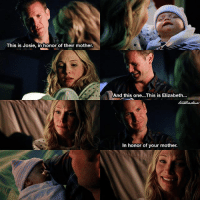 [7x13] This scene was one of the most beautiful moments of TVD do not lie 😍😭 ⠀ Q: Did you like the storyline of Care being pregnant? ⠀ My edit give credit [ carolineforbes alaricsaltzman tvd thevampirediaries vampirediaries tvdforever|177.1k]: This is Josie, in honor of their mother.  And this one...This is Elizabeth.  In honor of your mother. [7x13] This scene was one of the most beautiful moments of TVD do not lie 😍😭 ⠀ Q: Did you like the storyline of Care being pregnant? ⠀ My edit give credit [ carolineforbes alaricsaltzman tvd thevampirediaries vampirediaries tvdforever|177.1k]