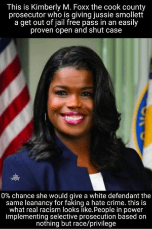 GET THE PICTURE NOW?   😠: This is Kimberly M. Foxx the cook county  prosecutor who is giving jussie smollett  a get out of jail free pass in an easily  proven open and shut case  0% chance she would give a white defendant the  same leanancy for faking a hate crime. this is  what real racism looks like. People in power  implementing selective prosecution based on  nothing but race/privilege GET THE PICTURE NOW?   😠