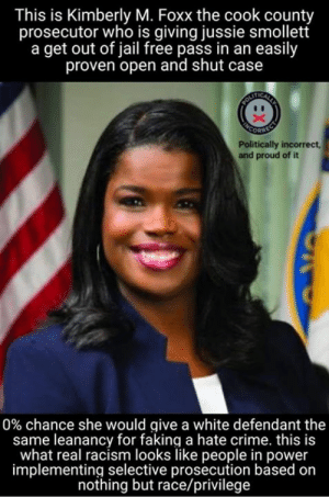✅ Pay Close Attention!!!  👉 We'll post the next piece of this puzzle in exactly 3 hours!   👀 Stay Tuned for Part 4...: This is Kimberly M. Foxx the cook county  prosecutor who is giving jussie smollett  a get out of jail free pass in an easily  proven open and shut case  Politically incorrect  and proud of it  0% chance she would give a white defendant the  same leanancy for faking a hate crime. this is  what real racism looks like people in power  implementing selective prosecution based on  nothing but race/privilege ✅ Pay Close Attention!!!  👉 We'll post the next piece of this puzzle in exactly 3 hours!   👀 Stay Tuned for Part 4...