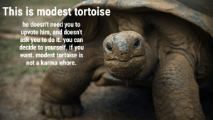 Karma, Irl, and Me IRL: This is modest tortoise  he doesn't need you to  upvote him, and doesn't  ask you to do it. you can  decide to yourself, if you  want. modest tortoise is  not a karma whore. me_irl