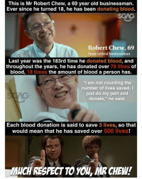 """Memes, Good, and Mean: This is Mr Robert Chew, a 69 year old businessman.  Ever since he turned 18, he has been donating blood.  SGAG  Robert Chew, 69  Semi-retired businessman  Last year was the 183rd time he donated blood, and  throughout the years, he has donated over 70 litres of  blood, 18 times the amount of blood a person has.  """"I am not counting the  number of lives saved, I  just do my part and  donate,"""" he said.  Each blood donation is said to save 3 lives, so that  would mean that he has saved over 500 lives!  UCH RESPECTTO YOL, MR CHEW! Humbled. And here I am thinking it's too troublesome to go and donate. Good job Mr Chew, we can all learn from your spirit of giving!"""