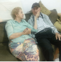 Love, Grandpa, and Angry: This is my grandpa (83). He has Alzheimer and dont recognize anyone. I asked if he knows this old lady on his side. He said quickly yes, Im married to her, so I asked do you love her?, And he: I love so much. She: he is aways angry, but when I stay close he gets calm.