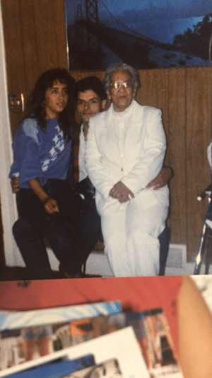 Crying, Dad, and Grandma: This is my great grandmother on the right who had the hots for my dad and  she would tell my mom (on the left)  in Spanish if I was forty years younger Ill steal him from you and here she is sitting on my dads lap lmaoo she would also tell my mom when her ex husband died she was crying with one eye and looking for her next husband with the other reblog thotty, sexually liberated great grandma for good luck.