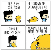 Smell, Failure, and Dog: THIS IS MYHE FOLLOWS ME  DOG, EDGAREVERYWHERE I GO  0  ITHINK HE NOTHING LIKE THE  LIKES MY SCENT SMELL OF FAILURE  FTHESQUARECOMICS Credit: THESQUARECOMICS