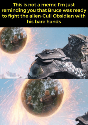 Bruce banner in the infinity war is all you need for a meme: This is not a meme l'm just  reminding you that Bruce was ready  to fight the alien-Cull Obsidian with  his bare hands Bruce banner in the infinity war is all you need for a meme