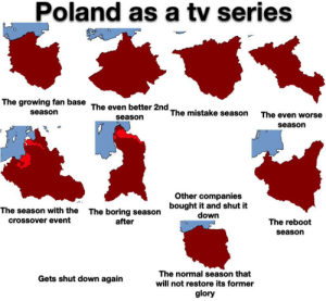 This is not as original as you think because I saw one on Germany by u/bigfatworm and one on Greece sadly I couldn't find the user who made the Greek one, but alright here's Poland in a tv show: This is not as original as you think because I saw one on Germany by u/bigfatworm and one on Greece sadly I couldn't find the user who made the Greek one, but alright here's Poland in a tv show