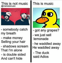 This is not music IThis is music  @memeismusic  somebody catch  got any grapes?  my breath  we just sell  make money  lemonade  Selling your hair  he waddled away  shadows scream  He waddled away  That I'm alone  The duck  is double sided  said Adios  And can't hide The duck walked up to the lemonade stand..and he said to the man running the stand..hey! (Bum bum bum) got any grapes?? -J