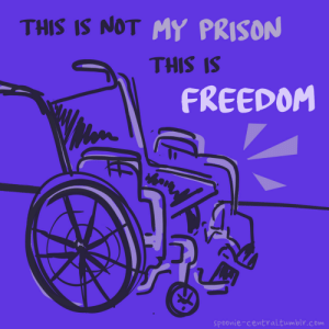 "Tumblr, Prison, and Blog: THIS IS NOT MY PRISON  THIS IS  FREEDOM  spoonie-central.tumbly.com so-over-ableism:  spoonie-central:  I was only confined before my wheelchair.  [ID: a drawing of a wheelchair on a purple background with ""this is not my prison this is my freedom"" written above it. end ID]"