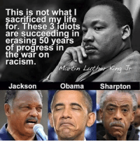 ~Hollywood: This is not what I  sacrificed my life  for. These 3 idiots  are succeeding in  erasing 50 years  of progress in  the War on  racism  Martin Luther King Jr  Jackson  Obama  Sharpton ~Hollywood