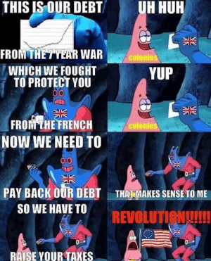 Dank, Memes, and Target: THIS IS OUR DEBT  UH HUR  FROMTHETYEAR WAR  WHICH WE FOUGHT  TO PROTECT YOU  colonies  YUP  FROM THE FRENCH  NOW WE NEED TO  colonies  PAY BACK OUR DEBT  SO WE HAVE TO  THAT MAKES SENSE TO ME  REVOLUTIeNUI!  RAISE YOUR TAKES The American Revolution in a nutshell by derpitzenkane MORE MEMES