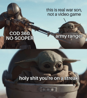 Wait til you see my care package: this is real war son,  not a video game  COD 360  army ranger  NO-SCOPER  holy shit you're on a streak Wait til you see my care package