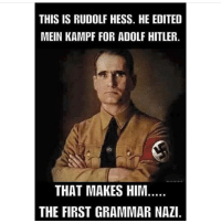 Memes, Adolf Hitler, and 🤖: THIS IS RUDOLF HESS. HE EDITED  MEIN KAMPF FOR ADOLF HITLER.  THAT MAKES HIM.  THE FIRST GRAMMAR NAZI. So this is where it all started...👀