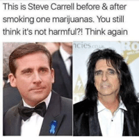 steve: This is Steve Carrell before & after  smoking one marijuanas. You still  think it's not harmful?! Think again  ciesc0