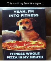Yeah Im Into Fitness: This is still my favorite magnet.  YEAH, I'M  INTO FITNESS  FITNESS WHOLE  PIZZA IN MY MOUTH