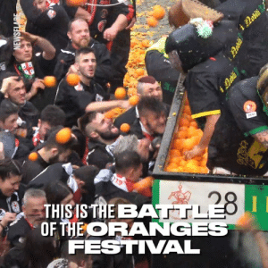 This is one of the most bonkers things you'll watch today... 😂😂: THIS IS TAE BAA  OHEORANGES  FESTIVAL This is one of the most bonkers things you'll watch today... 😂😂