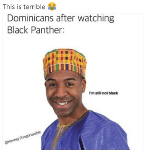 Black, Black Panther, and Mulato: This is terrible  Dominicans after watching  Black Panther:  I'm still not black  ble  Thines  @Henney No, soy meztizo o mulato