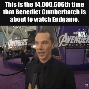 cumberbatch: This is the 14,000,606th time  that Benedict Cumberbatch is  about to watch Endgame.  ENDERS  E ND GA M E