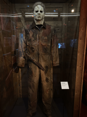 This is the actual Michael Meyers coveralls and mask worn by Taylor Mane in the 2007 production of Halloween. This thing is incredibly cool. Shot at the Museum of Pop Culture in Seattle.: This is the actual Michael Meyers coveralls and mask worn by Taylor Mane in the 2007 production of Halloween. This thing is incredibly cool. Shot at the Museum of Pop Culture in Seattle.