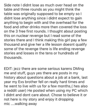 """This is the end of a completely unbelievable story on another sub. Man claims to be a high-end restaurant owner who """"puts Karen in her place"""". He can't spell chef and his post history doesn't even match up.: This is the end of a completely unbelievable story on another sub. Man claims to be a high-end restaurant owner who """"puts Karen in her place"""". He can't spell chef and his post history doesn't even match up."""