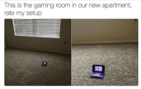 Gaming, New, and This: This is the gaming room in our new apartment,  rate my setup <p>Ooh, damn. Better than my setup.</p>