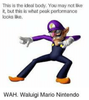 Random Waluigi images I saved on my phone - Dsy 96: This is the ideal body. You may not like  it, but this is what peak performance  looks like.  WAH. Waluigi Mario Nintendo Random Waluigi images I saved on my phone - Dsy 96