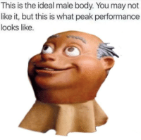 Ideal Male Body: This is the ideal male body. You may not  like it, but this is what peak performance  looks like
