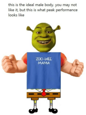 ideal male body: this is the ideal male body. you may not  like it, but this is what peak performance  looks like  ZOO-IWEE  MAMA ideal male body
