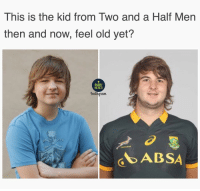 Memes, Two and a Half Men, and Time: This is the kid from Two and a Half Men  then and now, feel old yet?  RUGBY  MEMES  Anstagram  ABSA Time flies 😂😂 rugby springboks banter
