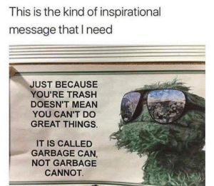 😎  : This is the kind of inspirational  message that need  JUST BECAUSE  YOU'RE TRASH  DOESN'T MEAN  YOU CAN'T DO  GREAT THINGS  IT IS CALLED  GARBAGE CAN,  NOT GARBAGE  CANNOT  😎