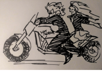 "This is the lone final Kofi drawing, belated because I drew it after I left my scanner and haven't had a chance to get back to it since. The request was ""  I would love to see Wanda and Natasha on a motercycle 3″Thanks to everyone who contributed, and I'm sorry I can't draw motorcycles!: This is the lone final Kofi drawing, belated because I drew it after I left my scanner and haven't had a chance to get back to it since. The request was ""  I would love to see Wanda and Natasha on a motercycle 3″Thanks to everyone who contributed, and I'm sorry I can't draw motorcycles!"