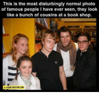 Most Famous: This is the most disturbingly normal photo  of famous people l have ever seen, they look  like a bunch of cousins at a book shop.  VIA THEMETAPICTURE.COM