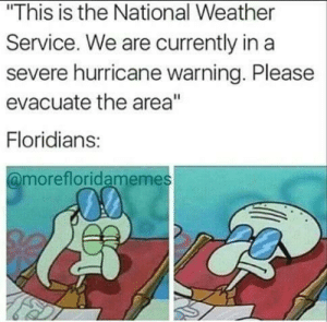 """All my friends are dead, push me to the edge: """"This is the National Weather  Service. We are currently in a  severe hurricane warning. Please  evacuate the area""""  Floridians:  @morefloridamemes All my friends are dead, push me to the edge"""