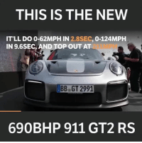 Memes, Porsche, and Boost: THIS IS THE NEW  IT'LL DO 0-62MPH IN 2.8SEC, 0-124MPH  IN 9.6SEC, AND TOP OUT AT  MPH  BB GT 2991  690BHP 911 GT2 RS What do you think of this? - - carthrottle carmemes turbo boost carsofinstagram carswithoutlimits carporn instacars supercar carspotting supercarspotting porsche gt2