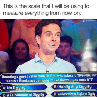 "Dr. Dre, Memes, and No Diggity: This is the scale that I will be using to  measure everything from now on.  @ @22Words  '90s R&B hit  Boasting a guest verse from Dr. Dre, what classic  features Blackstreet singing, ""Ilike the way you work it  A: No Diggity  B: Hardly Any Diggity  C: A Fair Amount of Diggity  D: An Ovewhelming Suplus of Diggity Its a good scale via /r/memes https://ift.tt/2NmBxlT"