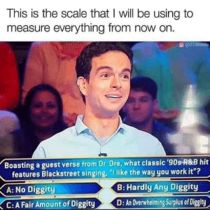 "Dr. Dre, No Diggity, and Singing: This is the scale that I will be using to  measure everything from now on.  @22Words  Boasting a guest verse from Dr. Dre, what classic '90s R&B hit  features Blackstreet singing, ""I like the way you work it""?  B: Hardly Any Diggity  A: No Diggity  D: An Overwhelming Surplus of Diggity  C: A Fair Amount of Diggity Meirl"