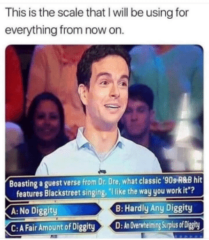 "an overwhelming surplus of diggity: This is the scale that l will be using for  everything from now on.  Boasting a guest verse from Dr. Dre, what classic 90s R&B hit  features Blackstreet singing, ""l like the way you workit""?  A:No Diggity  B: Hardly Any Diggity  C:A Fair Amount of DiggityD:Avewheiming Surplus of Digity an overwhelming surplus of diggity"