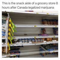Funny, Sorry, and Canada: This is the snack aisle of a grocery store 8  hours after Canada legalized marijuana  250  250  ISs  TC  250  50  25o  368  458  498 Sorry sorry