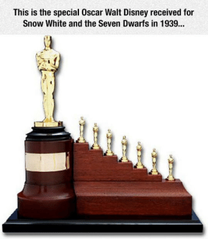 srsfunny:  Special Achievement Academy Award For The First Full-Length Animated Featurehttp://srsfunny.tumblr.com/: This is the special Oscar Walt Disney received for  Snow White and the Seven Dwarfs in 1939... srsfunny:  Special Achievement Academy Award For The First Full-Length Animated Featurehttp://srsfunny.tumblr.com/