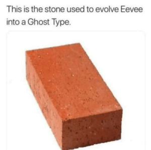 Evolve, Ghost, and Stone: This is the stone used to evolve Eevee  into a Ghost Type. Ghosteon i choose you!