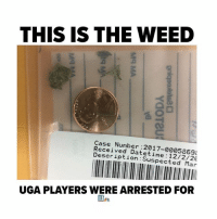 Earlier this month, two UGA players were arrested for possession of marijuana less than one ounce after winning SEC Championship against Auburn University (photo via @11alive): THIS IS THE WEED  Case Number:2017-0005869  Received Datetime 12/2/20  Description:Suspected Mar  UGA PLAYERS WERE ARRESTED FOR Earlier this month, two UGA players were arrested for possession of marijuana less than one ounce after winning SEC Championship against Auburn University (photo via @11alive)