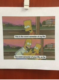 Life, School, and The Worst: This is the worst semester of my life  RAR  The worst semester of your life, so far One of my med school professors printed this and put it on his door after a tough exam