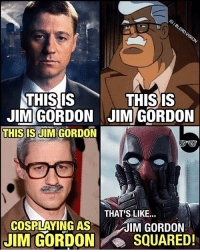Memes, Deadpool, and Math: THIS IS  THIS IS  JIM GORDON JIM GORDON  THIS IS JIM GORDON  THATS LIKE...  COSPLAYING AS  JIM GORDON  IM GORDON SQUARED! Gotta love that Deadpool math. tbt