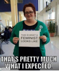 feminist: THIS IS WHAT A  FEMINIST  LOOKS LIKE  THAT S PRETTY MUCH  HAT I EXPECTED  Comment