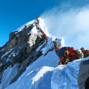 This is what climbing Mount Everest looks like in the busy season.: This is what climbing Mount Everest looks like in the busy season.