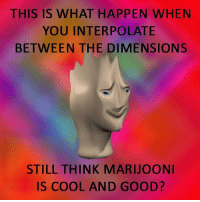 What Happen: THIS IS WHAT HAPPEN WHEN  YOU INTERPOLATE  BETWEEN THE DIMENSIONS  STILL THINK MARIJOONI  IS COOL AND GOOD?