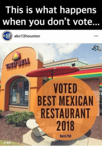 Memes, Best, and Image: This is what happens  when you don't vote..  13 abc13houston  VOTED  BEST MEXICAN  RESTAURANT  2018  Harris Poll  AP IMAGE