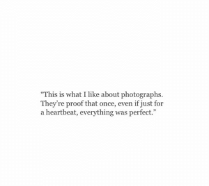 "Proof, Once, and What: ""This is what I like about photographs.  They're proof that once, even if just for  a heartbeat, everything was perfect."""